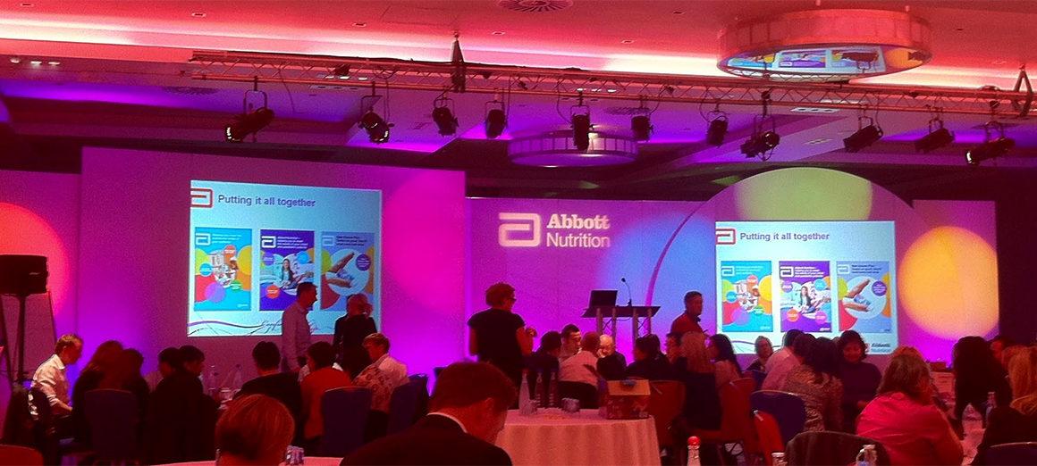Uplighting Stage Set-Up for Abbott Nutrition